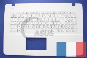 White AZERTY keyboard with plane logo