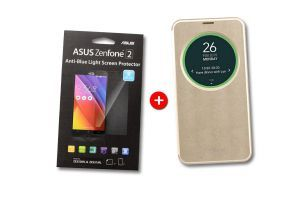 Gold ViewFlip   Screen protector for ZenFone 2 ZE550ML and ZE551ML bundle