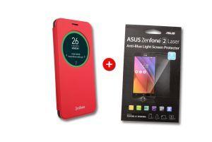Red ViewFlip   Screen protector for ZenFone 2 ZE550KL and ZE500KG bundle