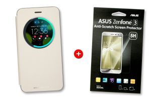 Bundle gold Viewflip cover and screen protector for ZenFone 3