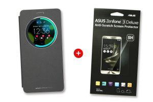 Bundle black Deluxe View Flip cover and screen protector for ZenFone 3