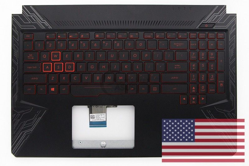 Black backlight QWERTY US keyboard for TUF Gaming notebook