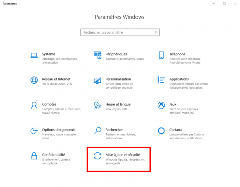 Paramètres Windows 10